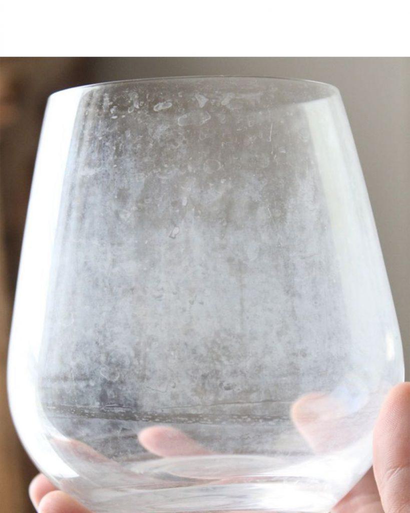 Water spots in glass